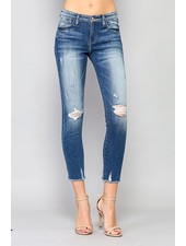 Mid Rise Fray Skinny Crop