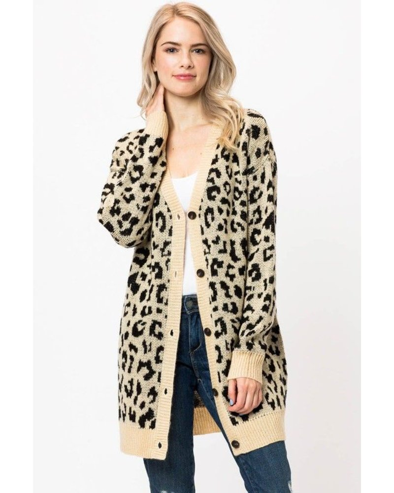 Leopard Cardigan Button Down