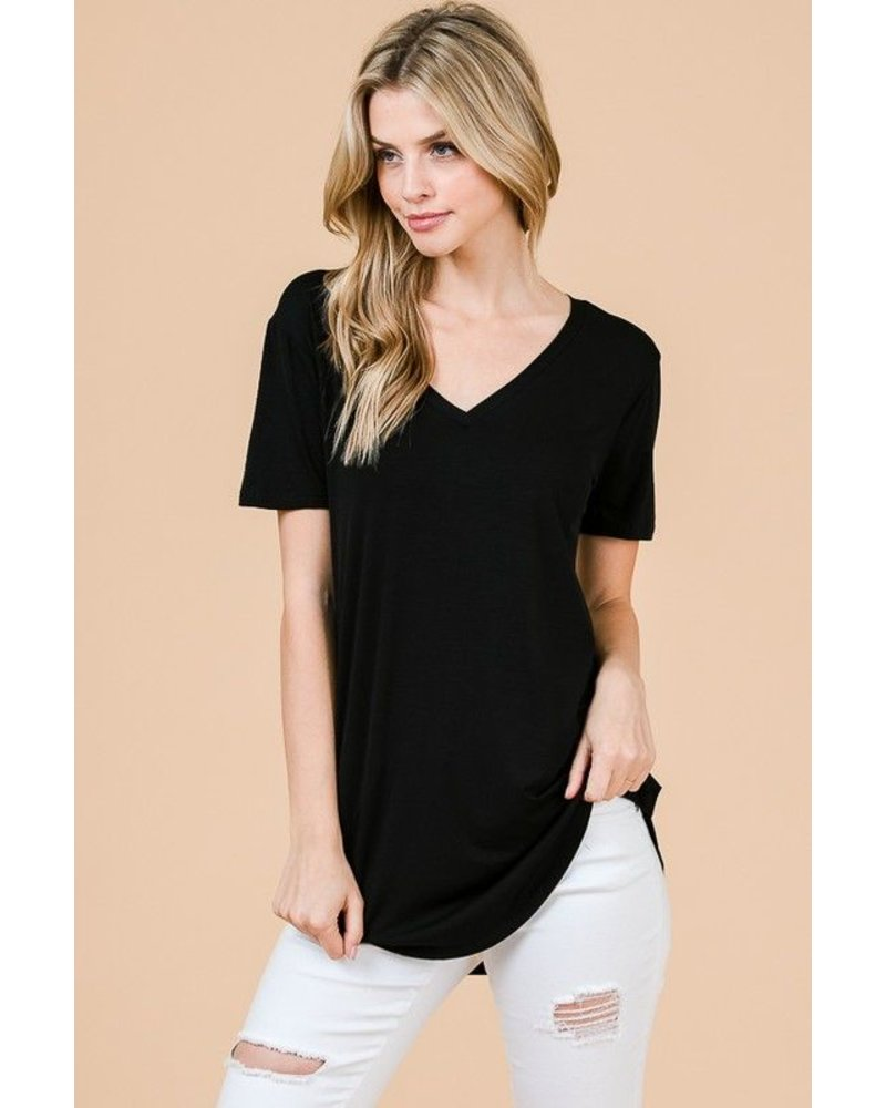 Cap Sleeve V-Neck Top
