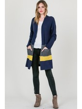 Pocketed 3 tone cardigan