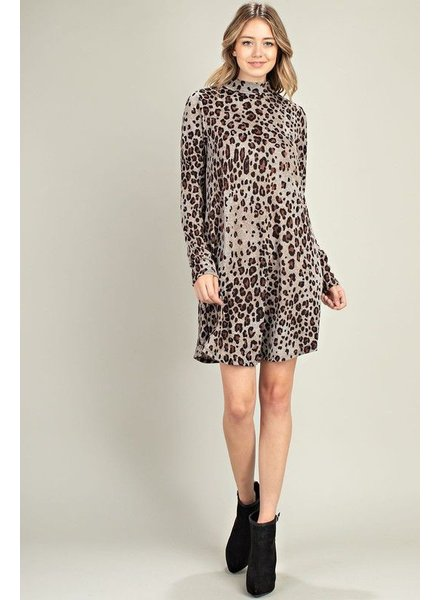 Leopard Mock Neck Dress