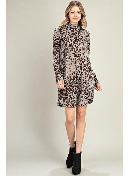 Leopard Mock Neck Dress