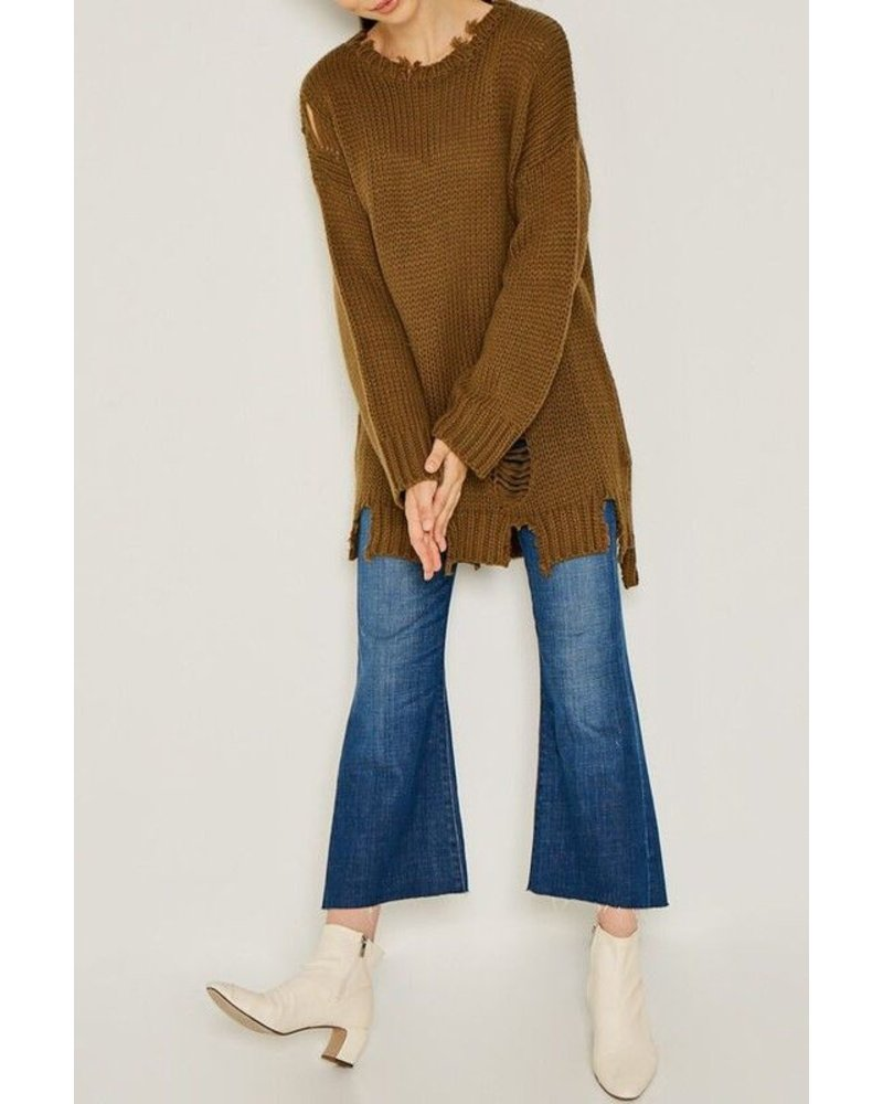 Distressed oversize sweater