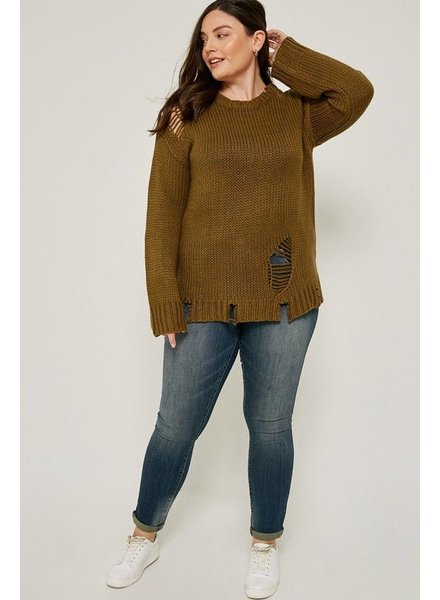 Distressed Pullover Knit Sweater