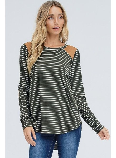 LS Stripted Top, Low Neckline, Suede