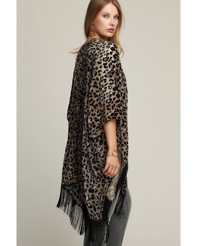 Leopard Burnout Kimono