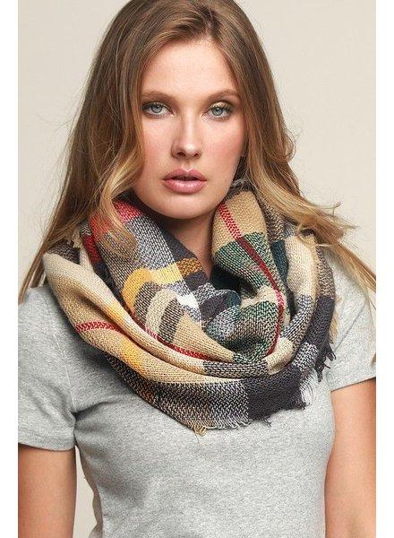 scarves Basic Everyday Plaid Infinity Scarf