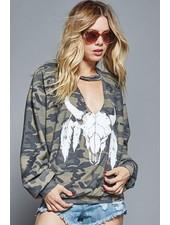 Cut Out VNeck Sweatshirt
