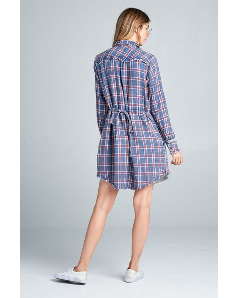 Washed plaid dress with fray