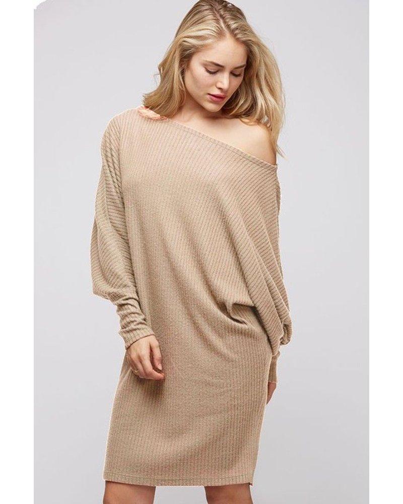 Brushed rib knit lose fit shoulder dress