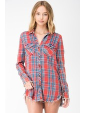 Red Demin Button Top