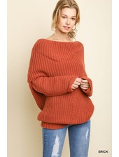 Ribbed Fold Over Sweater