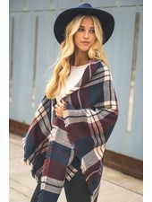 scarves Burgandy Plaid Blanket Scarf
