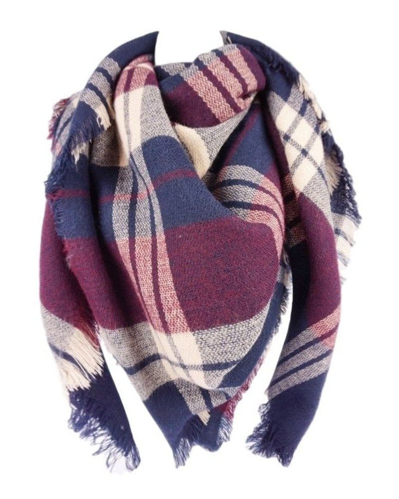 scarves Burgandy Plaid Blanket Scarf