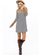 Stripe + Suede Dress