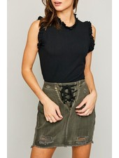 Ruffled Mock Neck Sleeveless Top