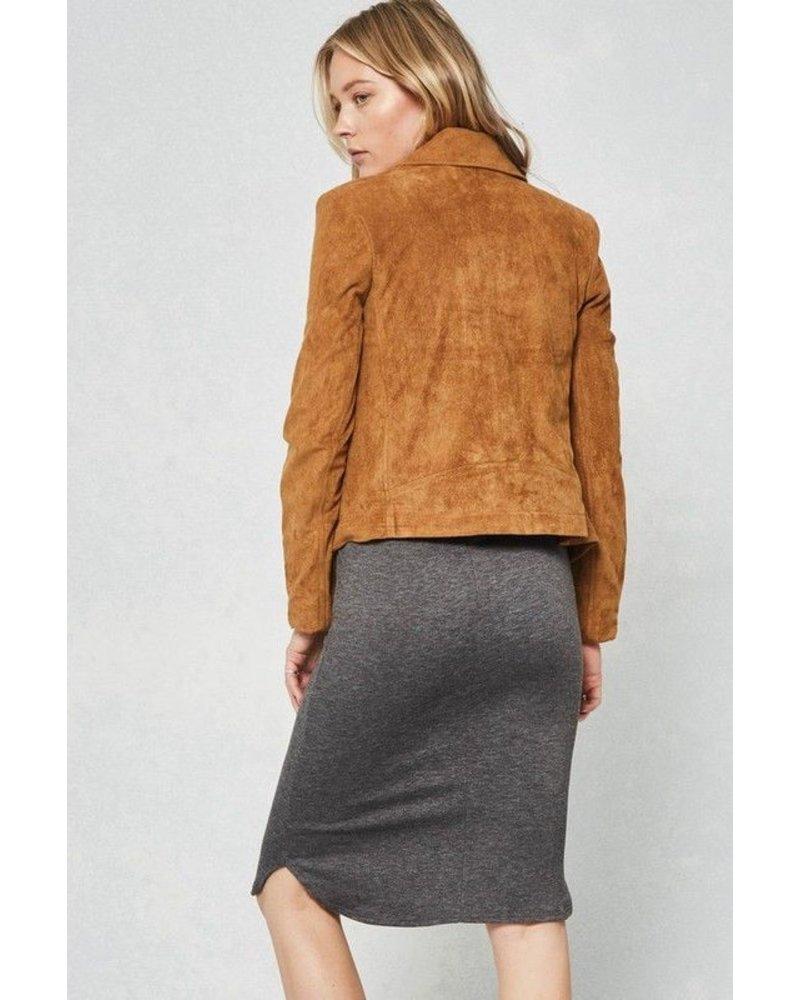 Elastic waist knit midi skirt