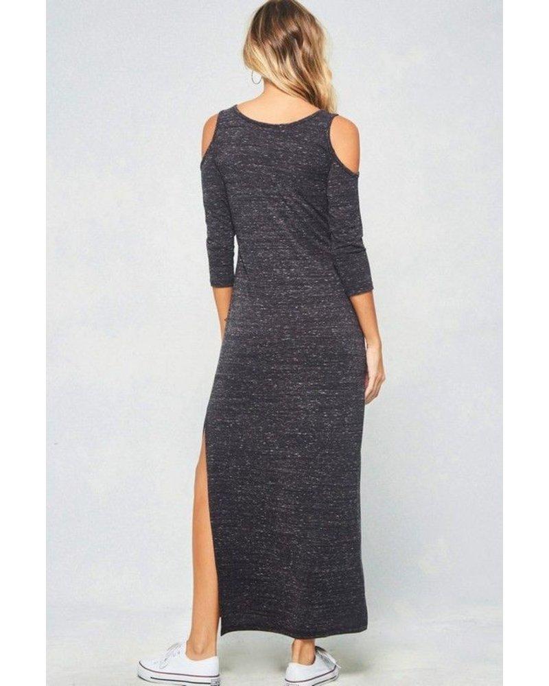 sandal A marled knit maxi dress