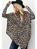 poncho Leopard Print Soft Knit Sweater