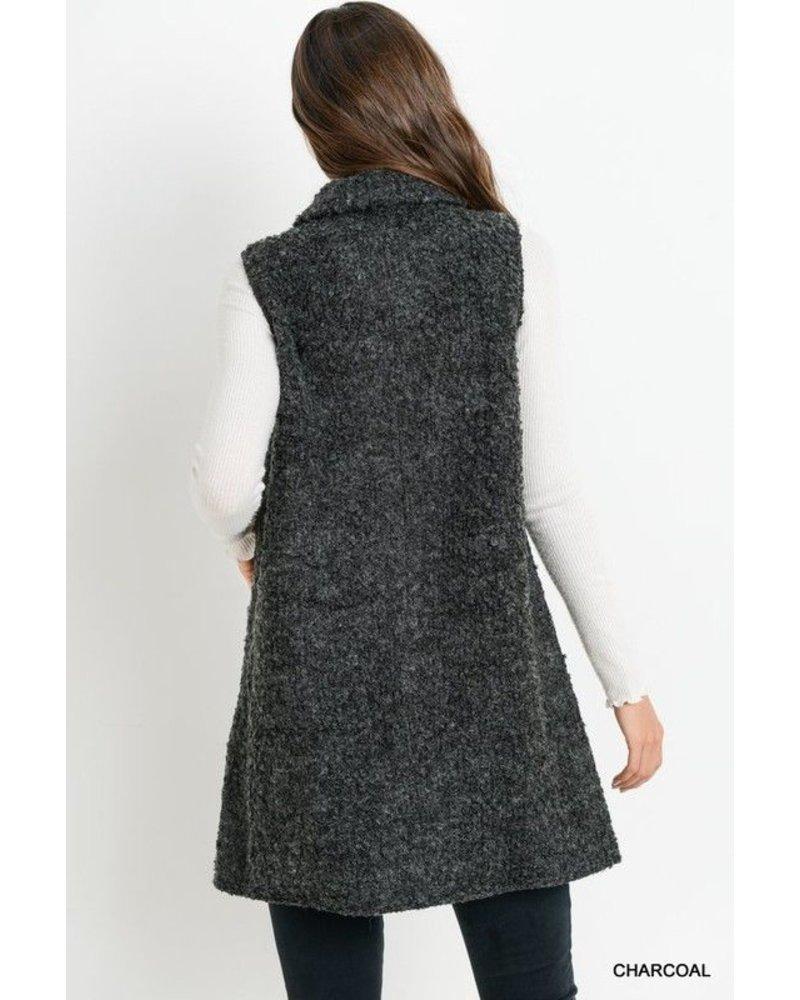 Faux Wool Leather Pocket Vest