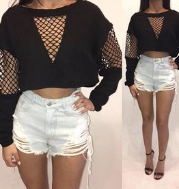 Essue LT12728 Cage Crop Sweatshirt