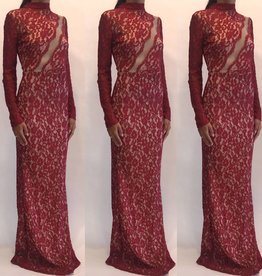 Symphony IDM4854A Lace Long Sleeve Red Gown