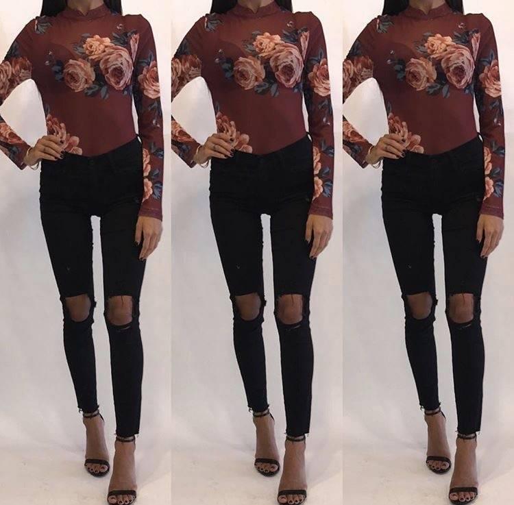 Active Basic 2C01A306 Floral Mesh Bodysuit