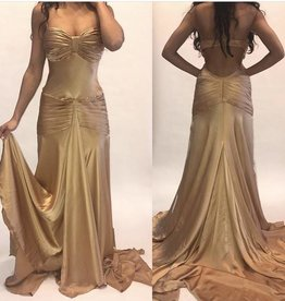 102 Dina Bar El Never Gold Gown Worn W Tags