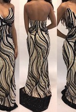106	Size 42 Invito  Sequin Nude Gown Worn Once