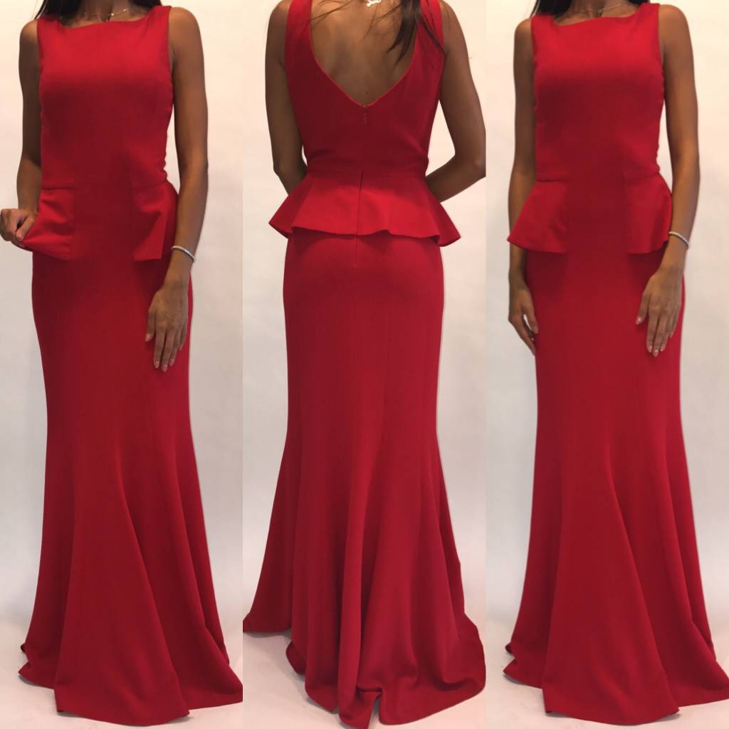 109	Size 4 BCBG Lightly Worn Red Peplum Gown