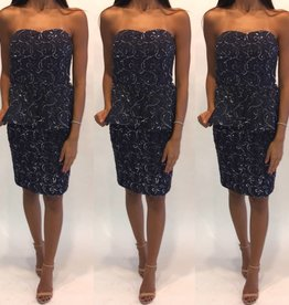 115	Size 4 Alice + Olivia Sequin Peplum Navy Tube Mini
