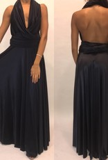 119Size Small Butter Black Maxi Halter Gown
