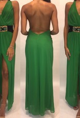 127	Size Small Emerald Jeweled Open Back Maxi