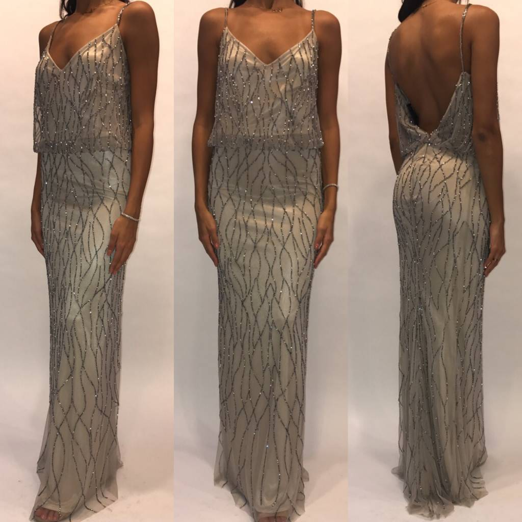 128	Size Small Silver Sequin Open Back Maxi Gown