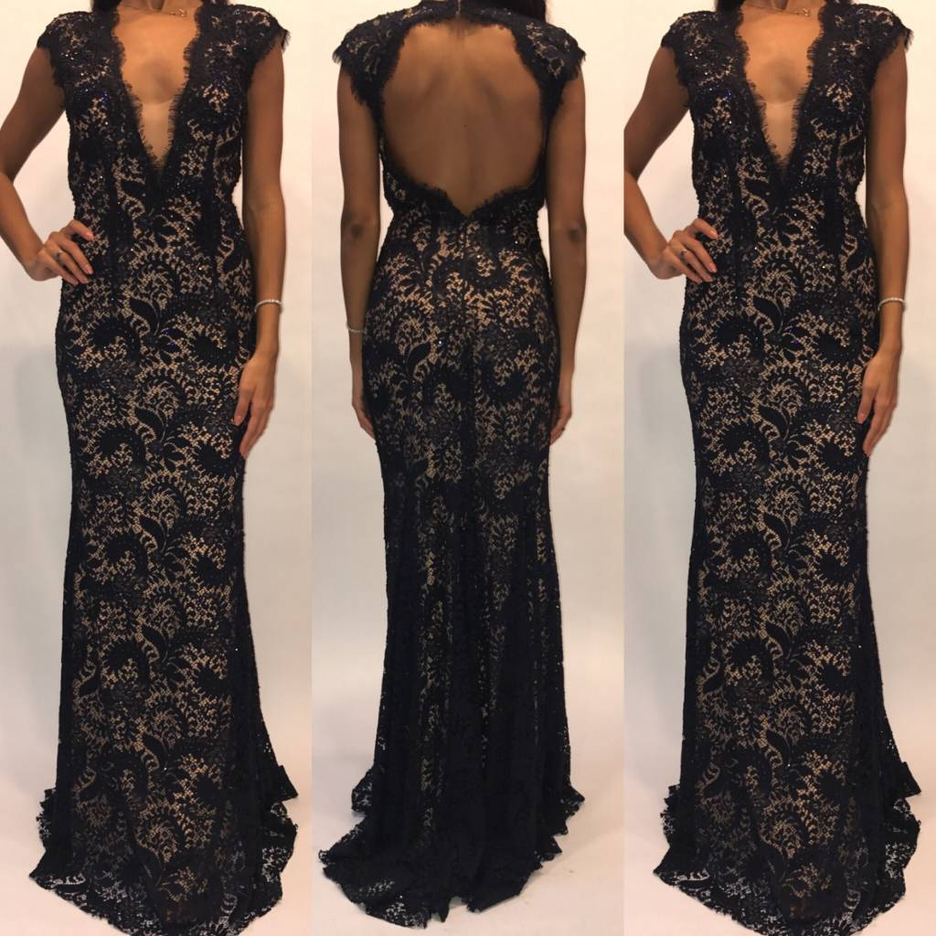 148	Size 2 Jovani Navy Open Back Lace Gown