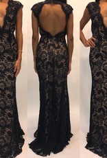 148Size 2 Jovani Navy Open Back Lace Gown
