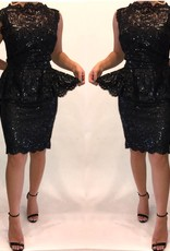 146Size 12 Tadashi Shoji  Sequin Peplum Mini Dress