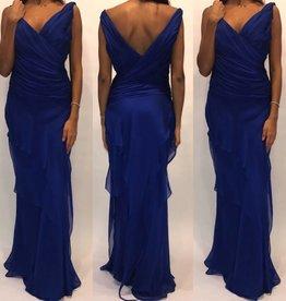 150Size 2 Carmen Marc Valvo Chiffon Royal Blue Gown