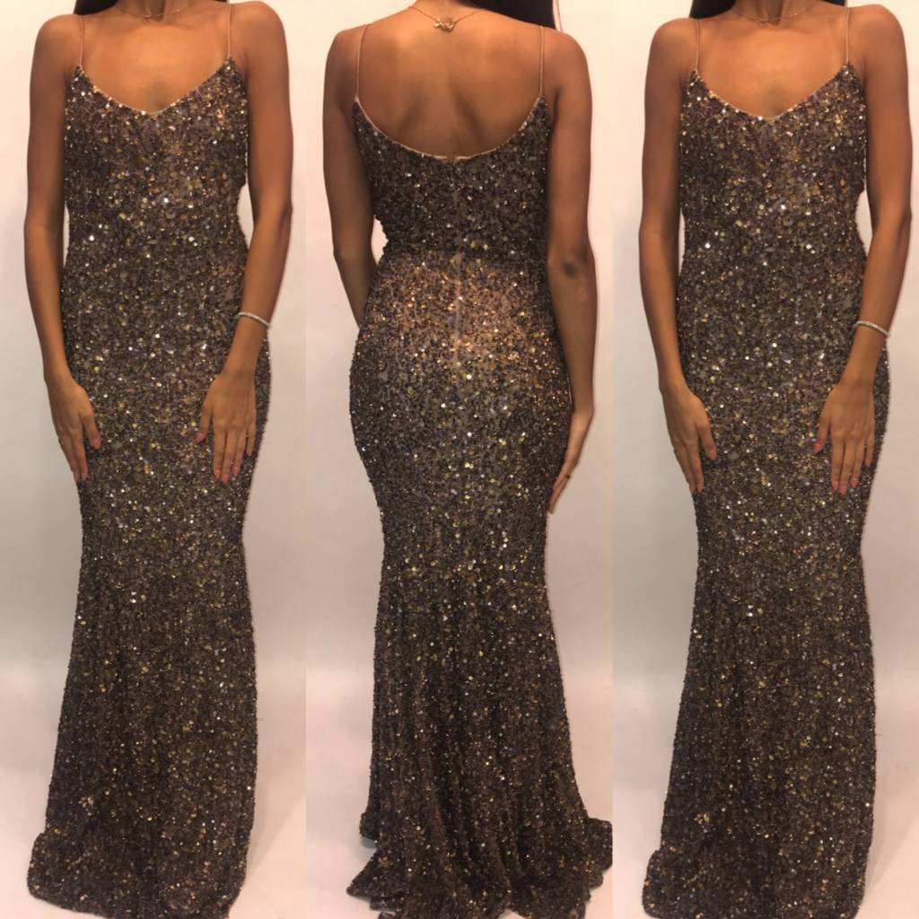 159	Size 2 Theia  Sequin Gown Worn Once