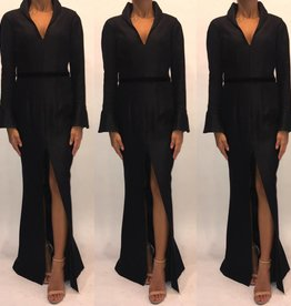 160	Size 4 Black Halo By Eve Worn Once Belted L/S Merimaid Gown