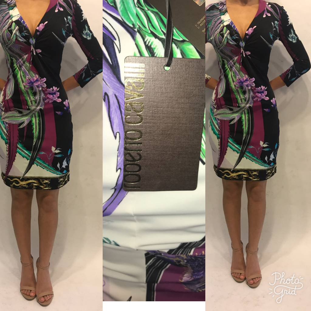 161	Size 38	Roberto Cavalli Floral Printed Mini Dress New wTags