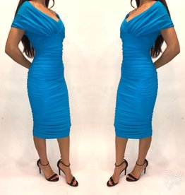 162	Size 38	Chiara Boni  Teal Off Shoulder Ruched Midi Dress