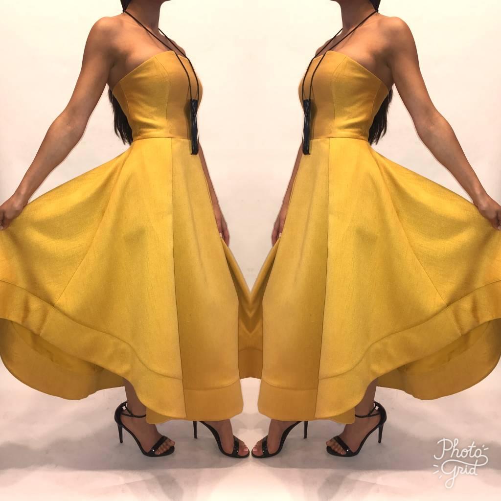 166XS Cameo Mustard Tube Midi Dress Worn Once