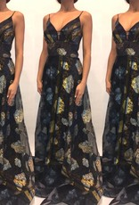 176	Size 39 IL'MIO Blue Printed Long Dress New W Tags