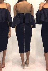 182	XS Elliat Navy Ruffle Dress	Worn Once