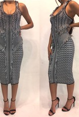 183XSTorn by Ronny Kobo Printed Navy Dress Worn Once