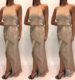 186	Size 2 Badgley Mischka	Gold Gown Worn Once