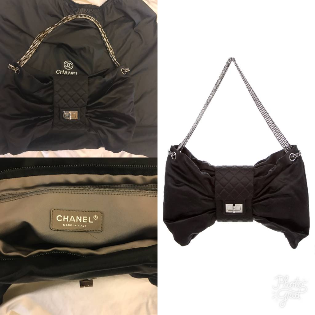 5005 Chanel	Black Long Chain Bow Bag	Like New