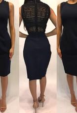 209Size 0Rebecca TaylorNavy Crochet Back Detail Midi Dress