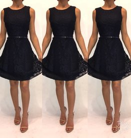 210	Size 2	Ali Ro Navy Lace Dress With Belted Detail	Like New